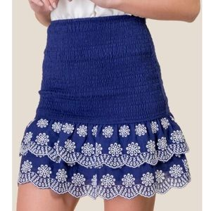 Francesca's Blue Smocked Floral Flared Mini Skirt